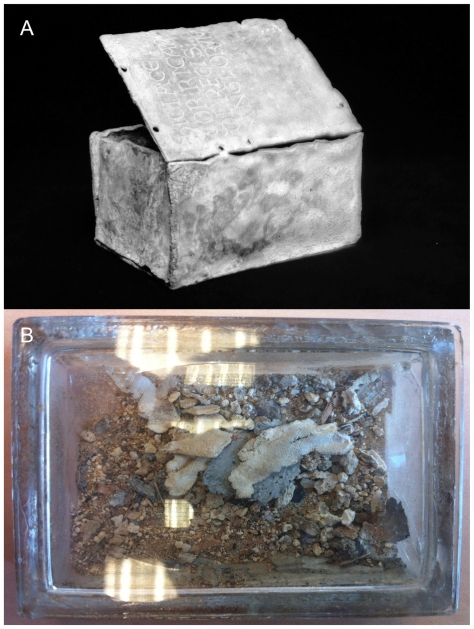 The remains of King Richard the Lionheart's heart and the lead box in which it was kept.