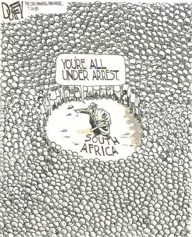 This famous cartoon by Brian Duffy from 1985 helps illustrate how some white South Africans feel.